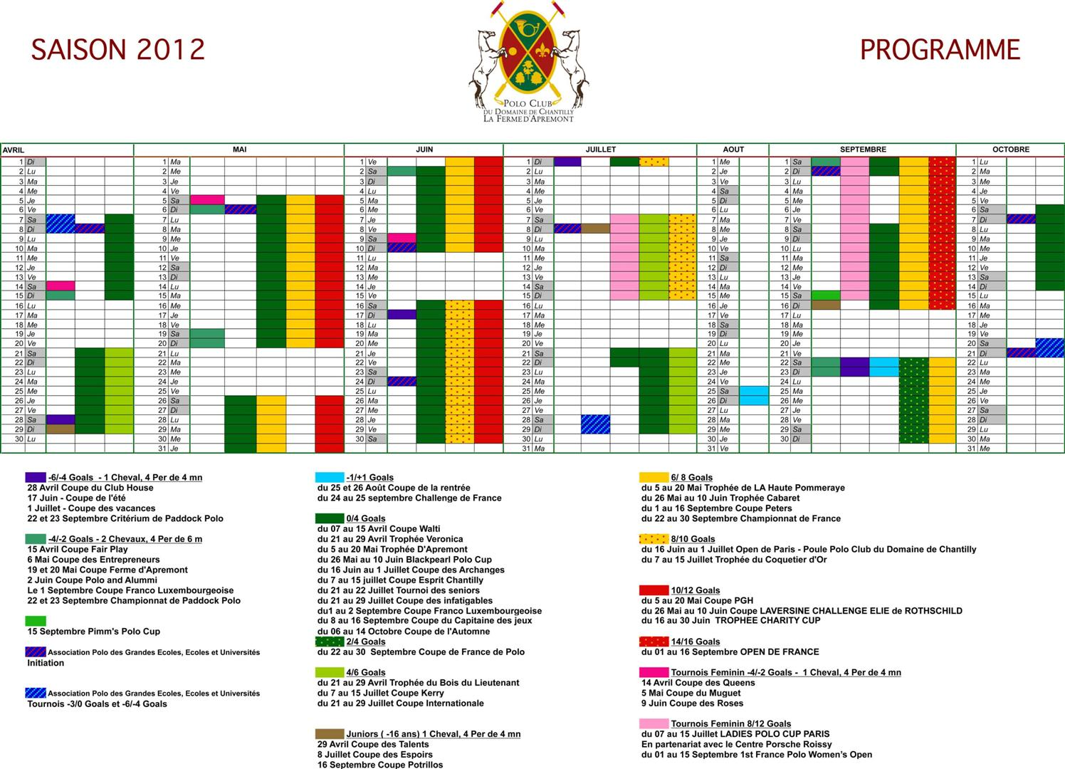 Saison 2012 Schedule Polo